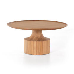 36 W Round Table Top Coffee Table Tray Lip Natural Solid Oak Pedestal Curved