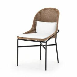 35 H Weaved Back Brown Outdoor Dining Chair Black Iron Rod Frame White Fabric