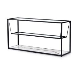 65 W Black Rectangle Iron Frame Console Table Floating Shelf Three Layer Marble
