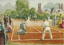 Vintage Card Print Of A Victorian Law Tennis Racket Game Bill Tilden Card Print