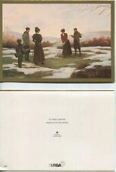 Vintage Girl Reading Topiary Dog 1 Christmas Victorian Golf Game Tee Snow Card