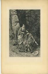 Antique Victorian Pretty Girl Forest Wood Man Holding Shoe Hat Chine Colle Print