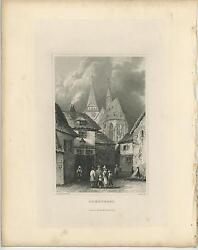 Antique Oberursel German German Town Village Family Cloudy Skies Old Art Print