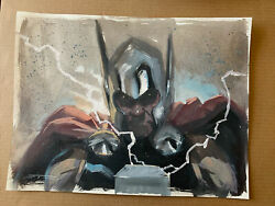 Thor By Esad Ribic Original Art Sketch Commission Painted 12x16 God Of Thunder