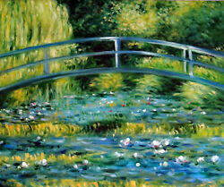 Water Lilies Pond Bridge Garden Monet Repro Hand Painted Oil On Stretched Canvas