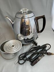 Vintage General Electric Ge Coffee Percolator 13p309 Cups Chrome Working Mcm