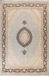 Vegetable Dye Geometric Tebriz Oriental Area Rug Wool/ Silk Hand-knotted 9and039x12and039
