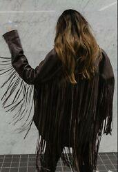 Zara Fringed Leather Overshirt Size Xs Brand New With Tags