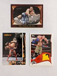 2005 Topps Wwe Heritage John Cena On Card Autograph 2002 Rookie And Shirt Relic