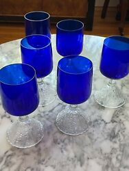 Cambridge Rose Point Cobalt Footed Tumbler/ Water/wine Goblet