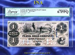 Indiana La Porte And Plymouth Plank Road Co 1 Legacy Superb Unc 67 Ppq Splendid