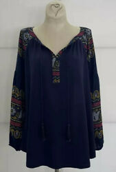 Lknew 1x Fig And Flower Anthropologie Jersey Knit /chiffon Tunic Peasant Top