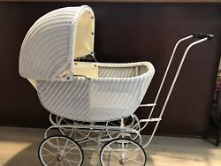 Antique Victorian White Wicker Baby Stroller Doll Carriage, 32 T, 34 L, 15 W