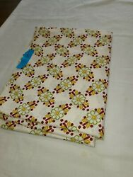 VTG Fabric 36X5 Yards quilting sewing cotton fabric flowers cream burgundy