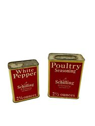 1933 Vintage Spice Tins - A Schilling And Company San Francisco With Some Contents