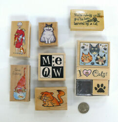 Cat Rubber Stamps All Night Media Janet Cleland Gladys Ziggy Fat Cat Paws Meow