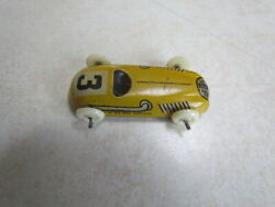Vintage 1950's U.s. Zone Germany Tin Lithograph Small Race Car 3 Yellow