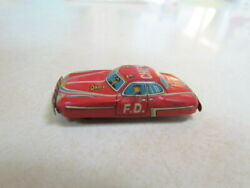 Vintage 1950's Japan Tin Lithograph Small Car Red Fire Department Chief