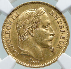 1868 A France Emperor Napoleon Iii Antique Gold 20 Franc French Ngc Coin I87379
