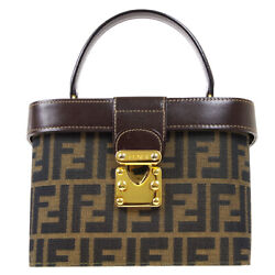 Fendi Zucca Pattern 2way Hand Bag Box Purse Brown Canvas Leather Italy 91418