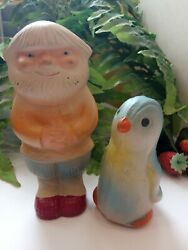 Russian Antiques Two Rubber Toys Russian Old Man And Pinwin Soviet Russia