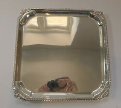 English Square Silver Plate Cocktail Tray / Serving Salver C.1930