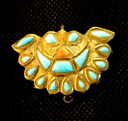 Ancient Angel Wing Turquoise Crescent Moon Old Red Coral Solid 22k Gold Pendant