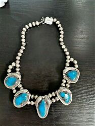Bisbee Turquoise 5 Pendant Necklace W/sterling Silver Navajo Pearl Beads