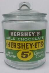 Very Hard To Find Hershey Candy Glass Counter Jar