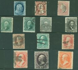 Us Small Lot Of 13 Used 19th Century Classic Stamps, Very Nice Lot Scv 950