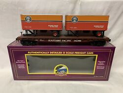 ✅mth Premier Southern Pacific Daylight Flat Car W/ 20' Pup Trailers 20-90390