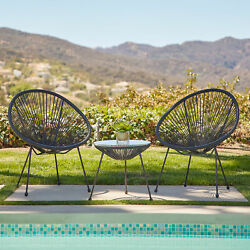 3-piece Acapulco Patio Bistro Set W/ Pe Rattan 2 Chairs And 1 Table, 3 Colors