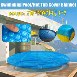 7and039and039 Round Above Ground Swimming Pool Hot Tub Cover For Winter Round Safety Blue