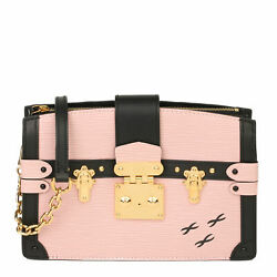 Louis Vuitton Rose Ballerine Epi Leather And Black Calfskin Leather Trunk...