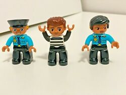 Lego Duplo Police Officers Man Female Criminal Robber Town Store New Lot Set 3