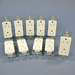 10 Cooper White Tamper Resistant Decorator Receptacle Outlets 5-15r 15a Tr1107w