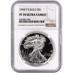 1994-p Proof American Silver Eagle One Dollar Coin Ngc Pf70 Ultra Cameo