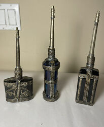 3 Collectible Rare Antique Moroccan Cologne/perfume Bottle Glass And Metal