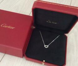Authentic Heart Diamond Necklace White Gold Free Shipping No.7643