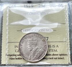 ✪ 1919 Canada 25 Cent Silver Coin Quarter Iccs Ms Gem 66 - Simply Stunning