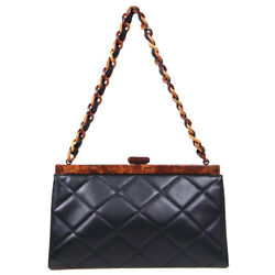 Quilted Plastic Chain Hand Bag 6597228 Purse Black Brown Lambskin 91392