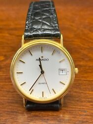 Movado 1881 Gold Stainless Steel Case With Black Leather Band Men's Wrist