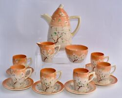Rare - Newport Pottery Clarice Cliff May Blossom Coffee Set For 6 - Complete