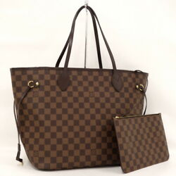 Secondhand Louis Vuitton Neverfulle Mm Tote Bag Damier Ebene With Pouch No.9197