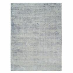 9and039x12and0393 Hand-loomed Gray Fine Jacquard Modern Wool And Silk Oriental Rug R62884