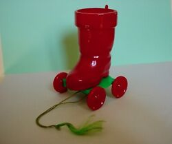 1950's Htf Vintage Hard Plastic Rosbro Santa Boot On Wheels Candy Container