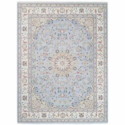 9and039x12and0391 Light Blue Nain Wool And Silk 250 Kpsi Hand Knotted Oriental Rug R62809
