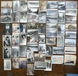 65x Antique Postcard Lot Real Photo Rppc +others People Ships City Nature More