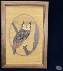 Hudson River Inlay Wood Owl Marquetry Signed Nelson Vintage Wall Art