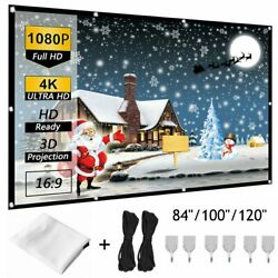 84/100/120 Portable Foldable Wall Projector Screen 169 Home Theater Outdoor
